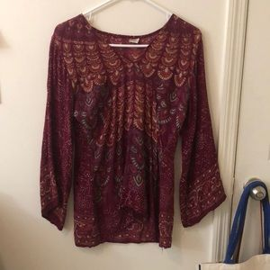 Boho Indian Red Top Bell Sleeves